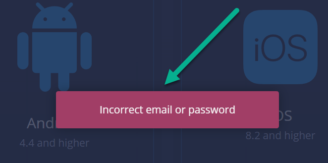expertoption incorrect email password