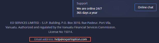 ExpertOption contact email