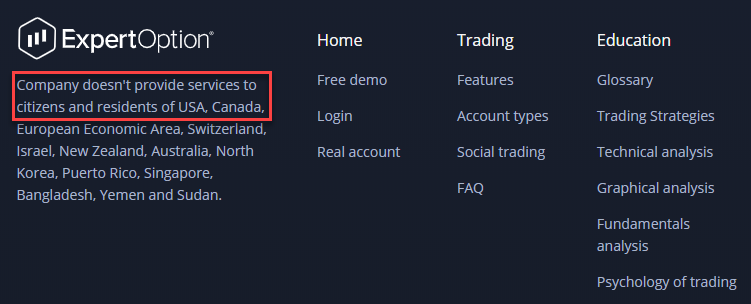 ExpertOption why not allow traders from USA