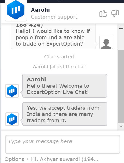 Trading in India with ExpertOption