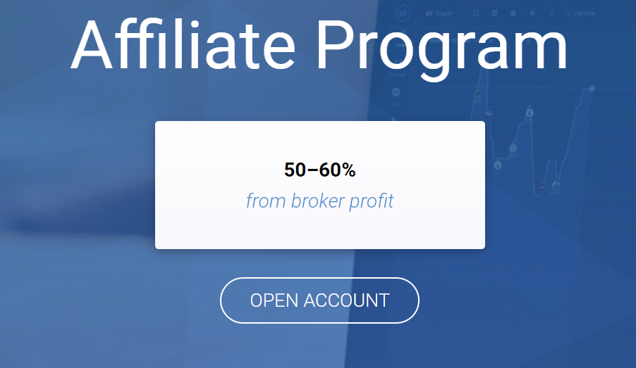 Open affiliate account on ExpertOption